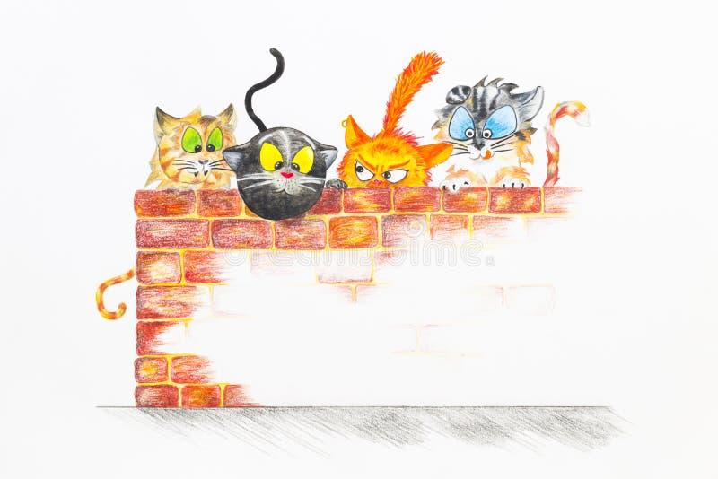 Иллюстрация с группой в составе милые коты стоковые фотографии rf