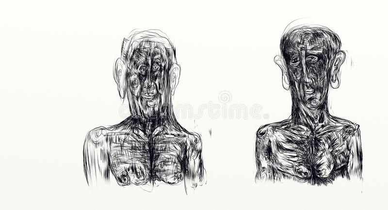 Иллюстрация сделанная при nankin показывая бюст 2 людей встает на сторону - мимо - сторона иллюстрация штока