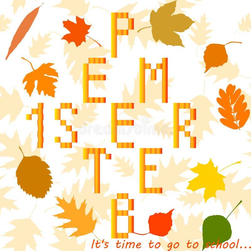 Иллюстрация с листьями осени 1-ое сентября стоковая фотография rf