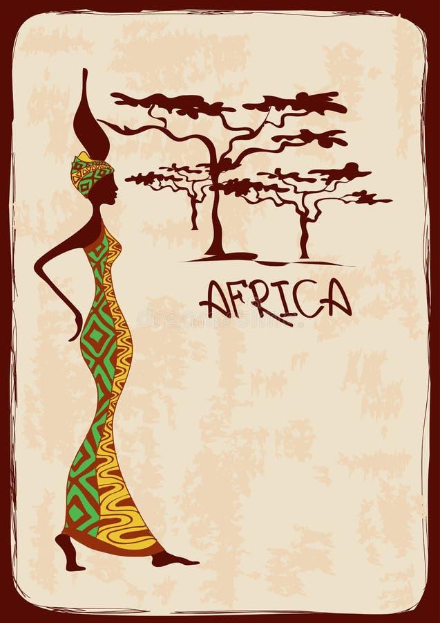Иллюстрация с красивой африканской женщиной иллюстрация вектора