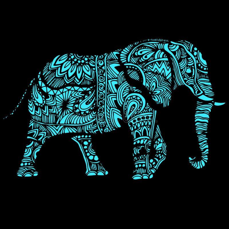 Иллюстрация слона для тканей картины дизайна Использованный для одежд детей, пижамы бесплатная иллюстрация