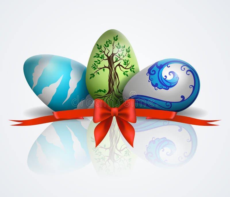 Иллюстрация с покрашенными пасхальными яйцами бесплатная иллюстрация