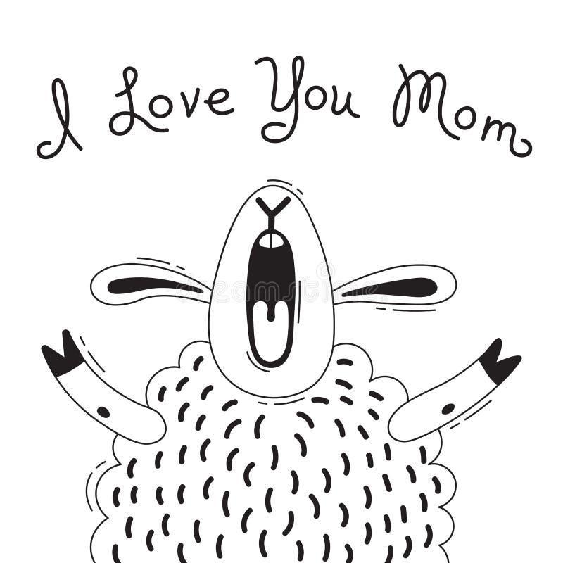 Иллюстрация с радостной овцой которая говорит - я тебя люблю мама Для дизайна смешных воплощений, плакатов и карточек животное ми иллюстрация штока