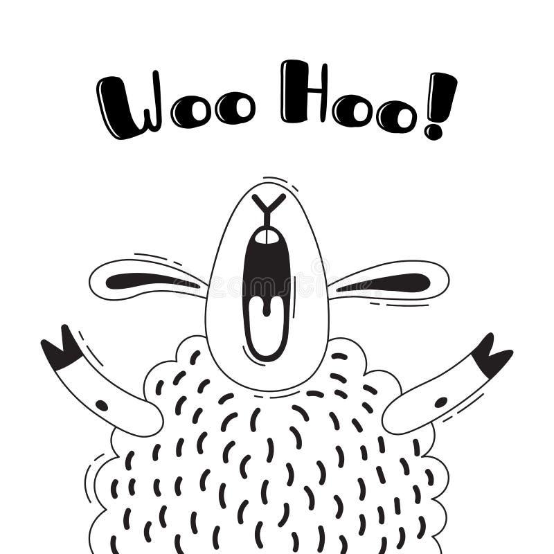 Иллюстрация с радостной овцой которая кричит - посватайте Hoo Для дизайна смешных воплощений, радушных плакатов и карточек животн бесплатная иллюстрация