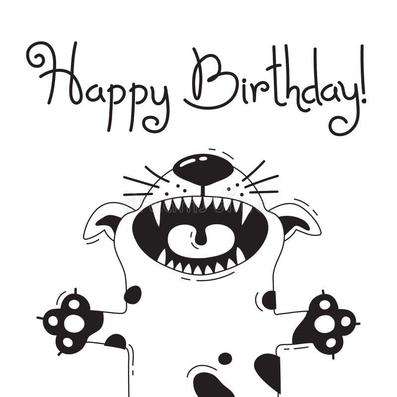 Иллюстрация с радостной собакой которая говорит - с днем рождения Для дизайна смешных воплощений, радушных плакатов и карточек ми бесплатная иллюстрация