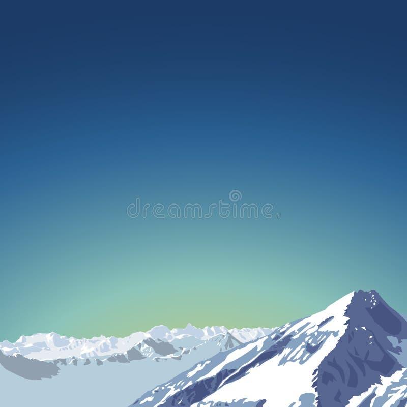 Иллюстрация темы гор красивый ландшафт горы с небом утра бесплатная иллюстрация