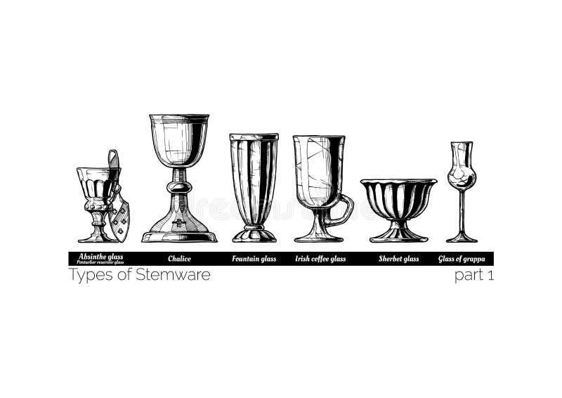 Иллюстрация типов Stemware иллюстрация штока