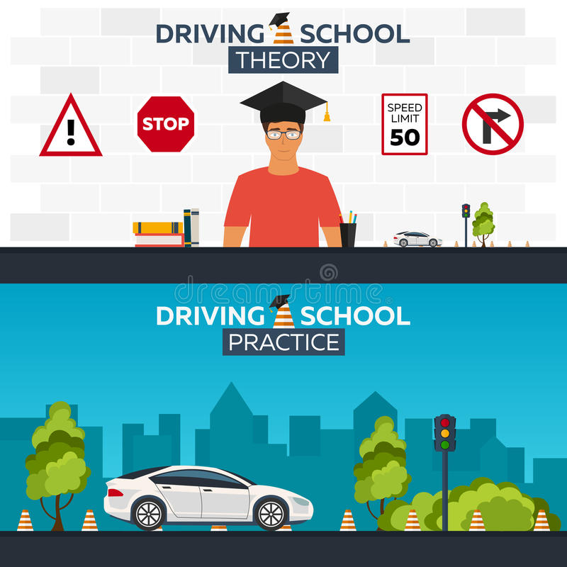Иллюстрация управляя школы autobahn Автоматическое образование Правила дороги практика бесплатная иллюстрация