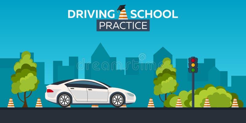 Иллюстрация управляя школы autobahn Автоматическое образование Правила дороги практика иллюстрация вектора
