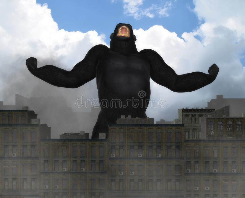 Иллюстрация фантазии города гигантской гориллы вторгаясь иллюстрация штока