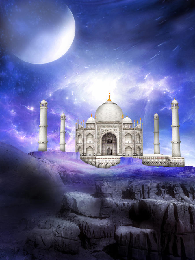 Иллюстрация фантазии мира чужеземца Тадж-Махала иллюстрация штока