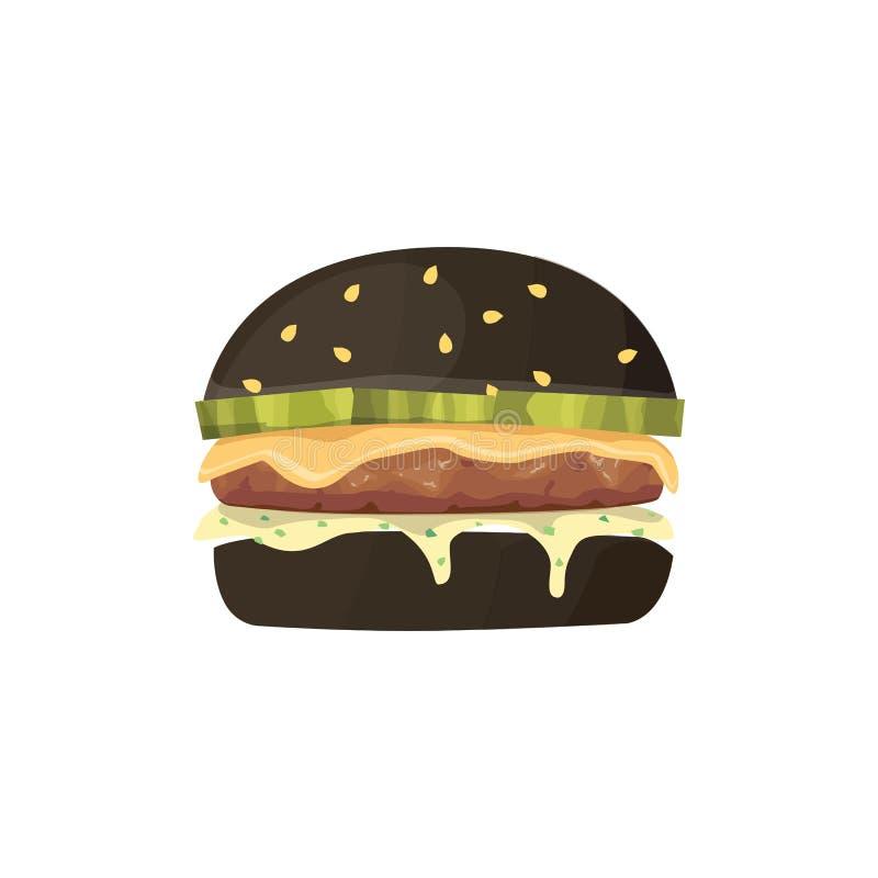 Иллюстрация фаст-фуда шаржа бургера Черный гамбургер бесплатная иллюстрация
