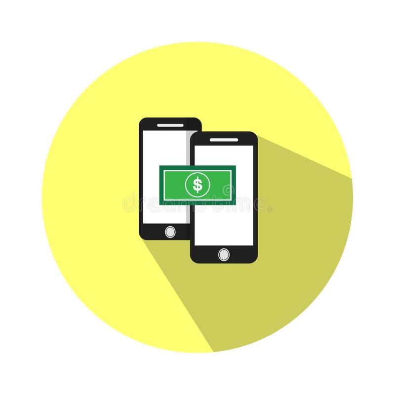 Иллюстрация финансовая операция над телефоном Вы можете перенести деньги для того чтобы проверить ваш баланс Через чернь иллюстрация вектора