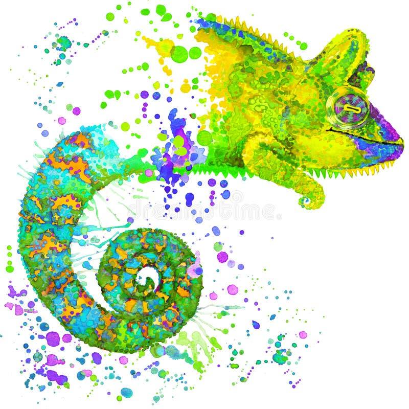 Иллюстрация хамелеона с предпосылкой выплеска текстурированной акварелью иллюстрация штока
