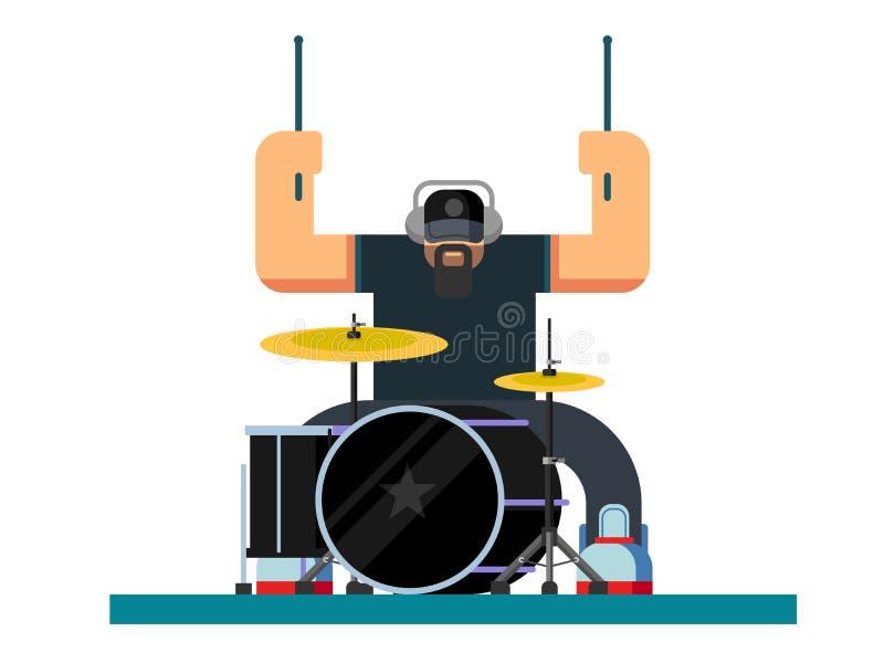 Иллюстрация характера барабанщика плоская бесплатная иллюстрация