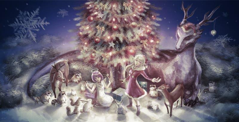 Иллюстрация характера и животных девушки шаржа фантазии такие иллюстрация штока