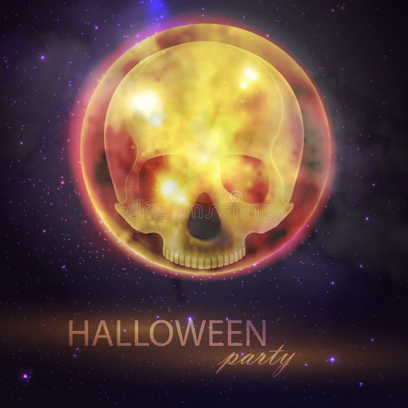 Иллюстрация хеллоуина с полнолунием и черепом на предпосылке ночного неба Дизайн рогульки партии бесплатная иллюстрация