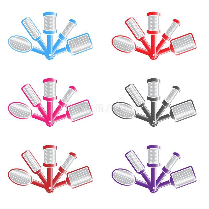 иллюстрация цвета с несколькими щеток для волос стоковые изображения