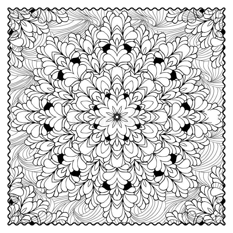 Иллюстрация цвета черного вектора mono Взрослый дизайн страницы книжка-раскраски иллюстрация штока