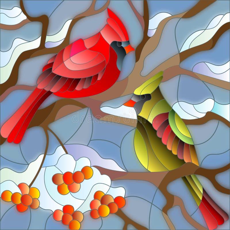 Иллюстрация цветного стекла с кардиналами птиц на ветви рябины бесплатная иллюстрация