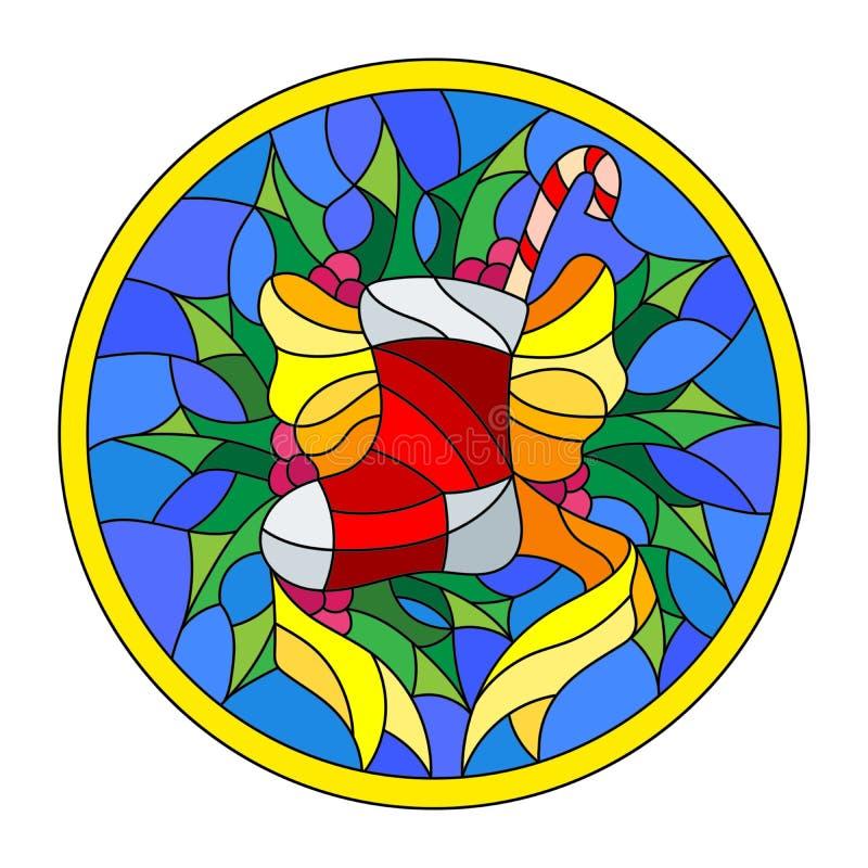 Иллюстрация цветного стекла с носком рождества, лентой и падубом разветвляет на голубой предпосылке, круглой картинной рамке иллюстрация штока