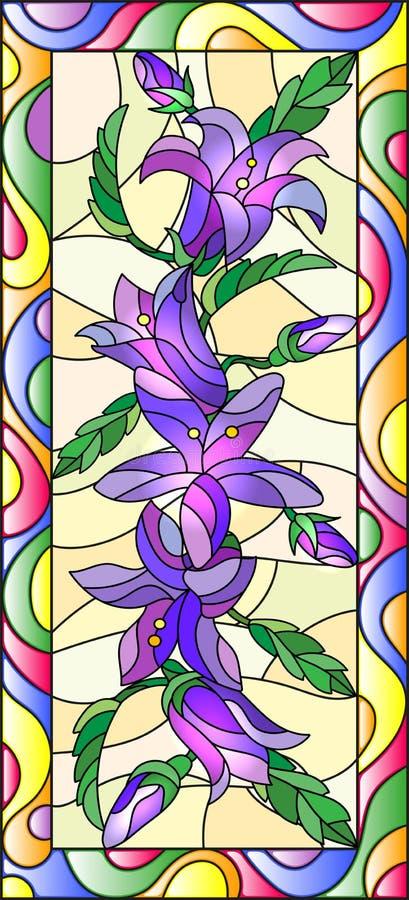 Иллюстрация цветного стекла с цветками, бутонами и листьями bluebells цветет, вертикальная ориентация иллюстрация вектора