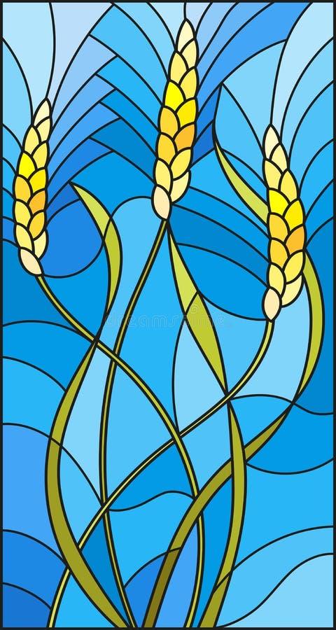 Иллюстрация цветного стекла с шипами заводов хлопьев на голубой предпосылке иллюстрация вектора