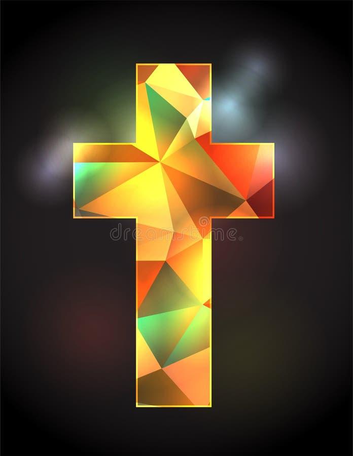 Иллюстрация цветного стекла христианская перекрестная иллюстрация штока