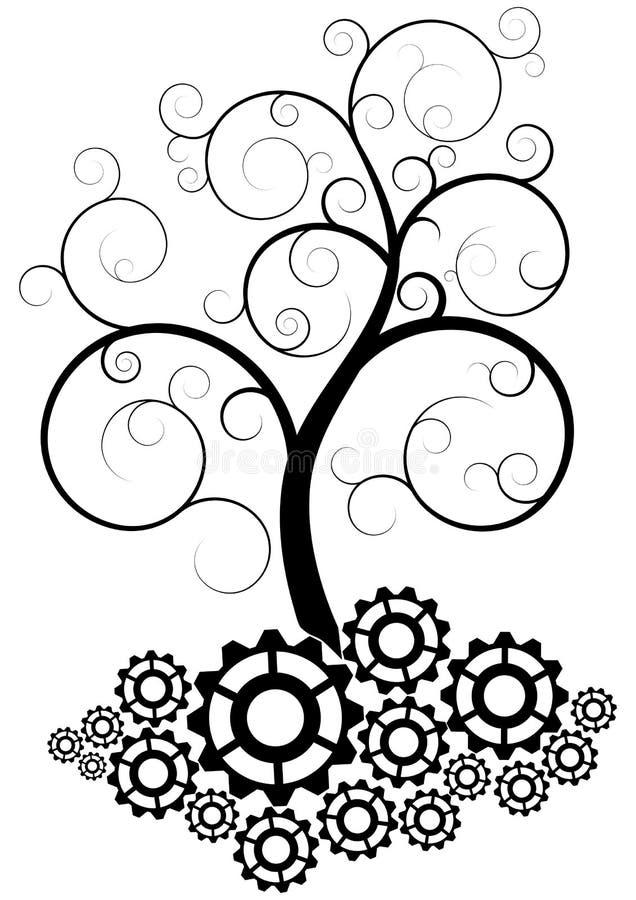 Дерево шестерни иллюстрация штока