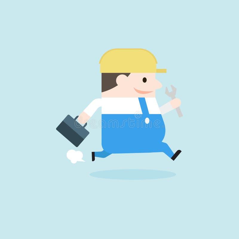 Иллюстрация человека механика бегущ и держащ toolbox и гаечный ключ бесплатная иллюстрация