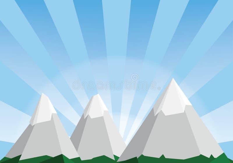 Иллюстрация шаржа ландшафта горы, низкая поли предпосылка иллюстрация вектора