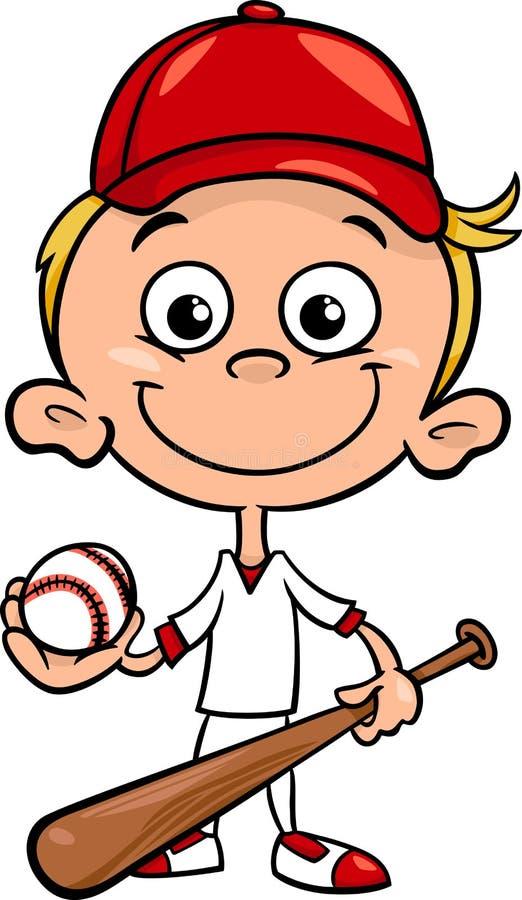 Иллюстрация шаржа бейсболиста мальчика бесплатная иллюстрация
