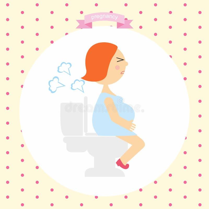 Иллюстрация шаржа беременной женщины производит газы сидя на туалете серия беременности иллюстрация вектора