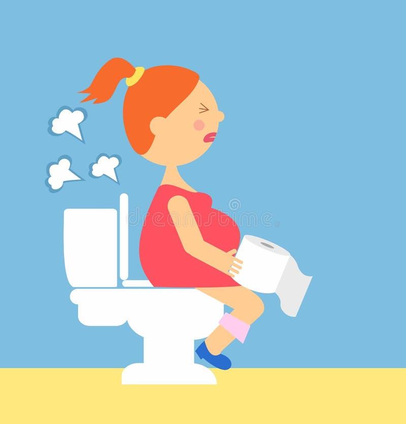 Иллюстрация шаржа беременной женщины производит газы сидя на туалете серия беременности иллюстрация штока