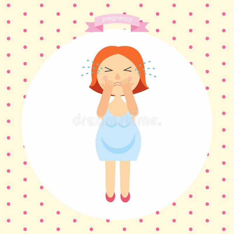 Иллюстрация шаржа беременной женщины плачет серия беременности vector знаки иллюстрации симптомов беременности - эмоциональных бесплатная иллюстрация