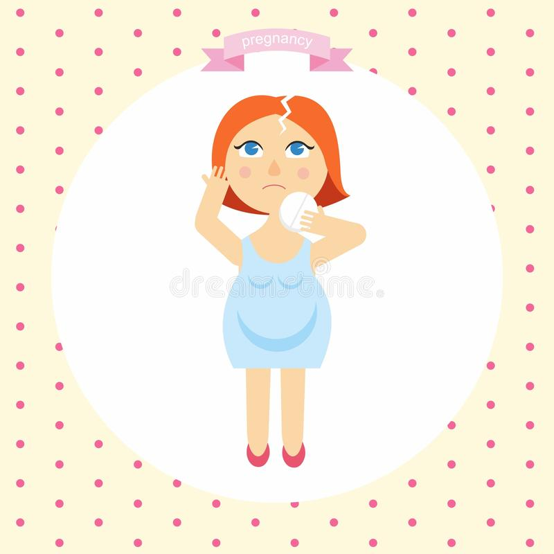 Иллюстрация шаржа беременной женщины с головной болью Симптомы беременности иллюстрация вектора
