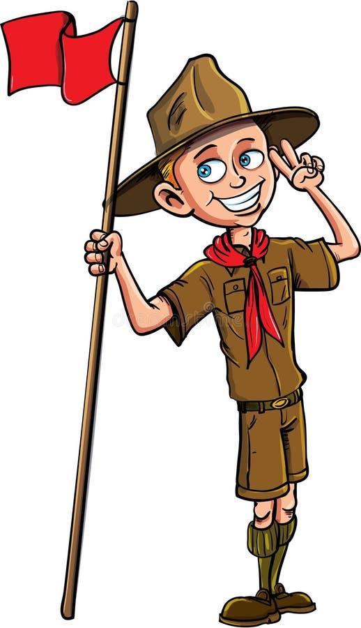 Иллюстрация шаржа вектора запаса разведчика мальчика стоковые изображения