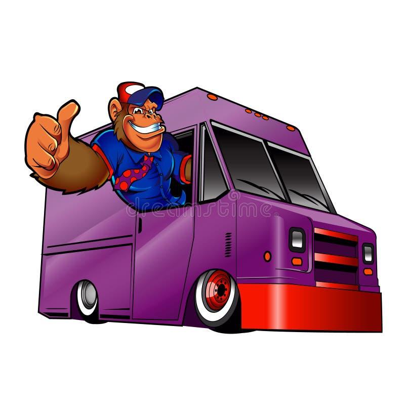 Иллюстрация шаржа гориллы управляя фургоном бесплатная иллюстрация