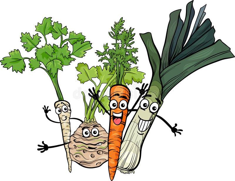 Иллюстрация шаржа группы овощей супа иллюстрация штока