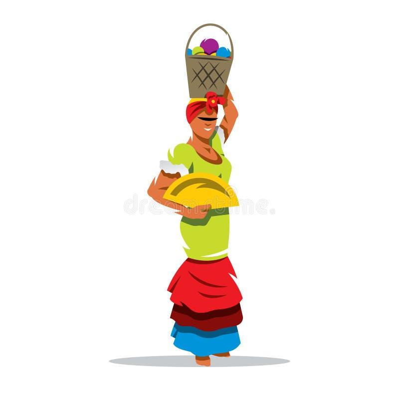Иллюстрация шаржа женщины вектора кубинськая иллюстрация вектора