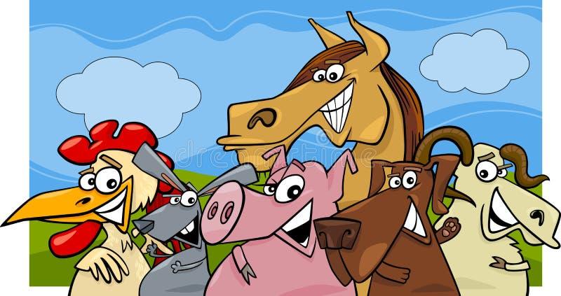 Иллюстрация шаржа животноводческих ферм бесплатная иллюстрация