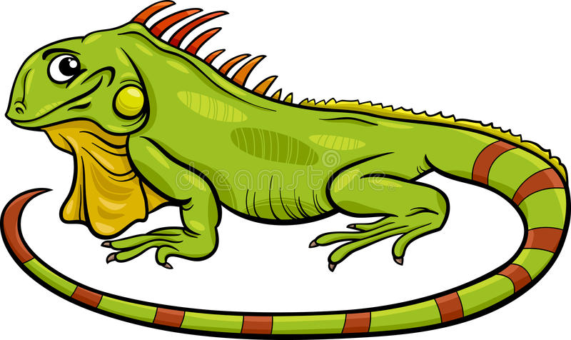 Иллюстрация шаржа игуаны животная