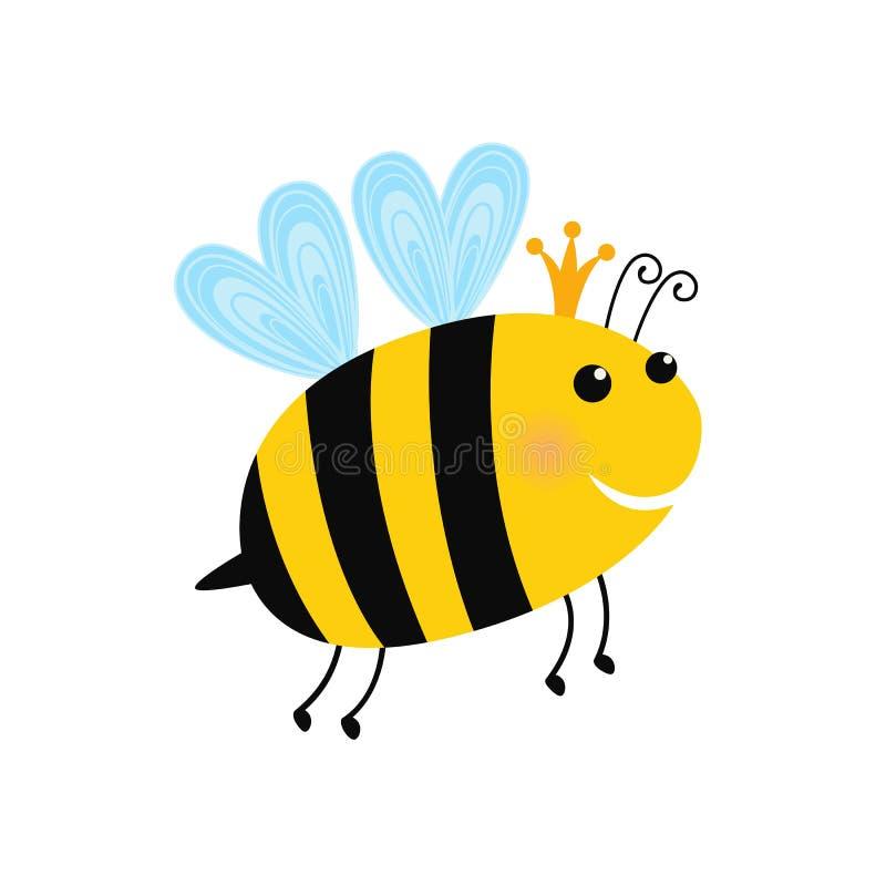 Иллюстрация шаржа королевы пчел с кроной иллюстрация штока