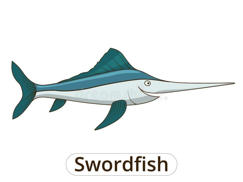 Иллюстрация шаржа меч-рыб подводная животная иллюстрация вектора