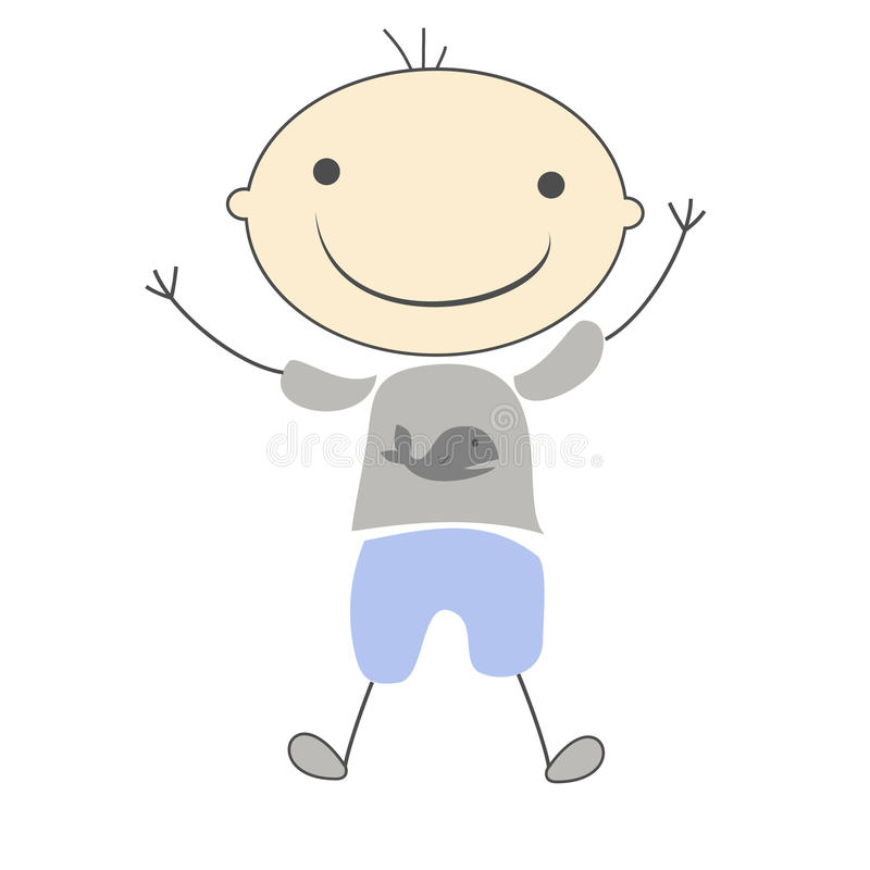 Иллюстрация шаржа милого мальчика детей простая стоковые фотографии rf