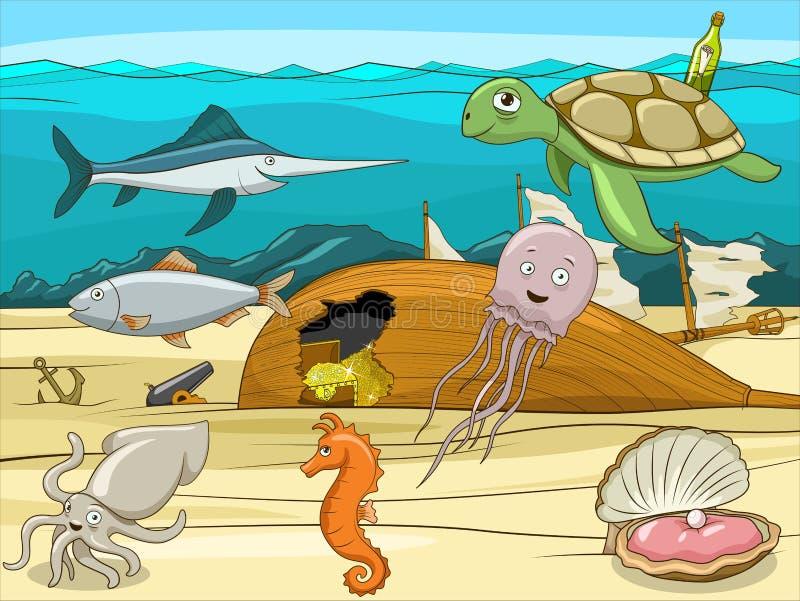 Иллюстрация шаржа морской жизни воспитательная иллюстрация штока