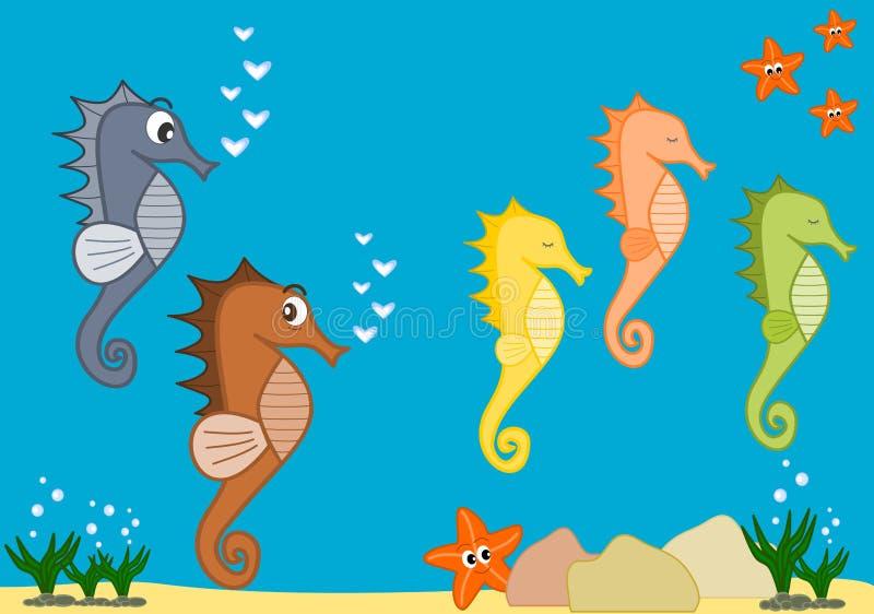 Иллюстрация шаржа морской жизни с морскими коньками бесплатная иллюстрация