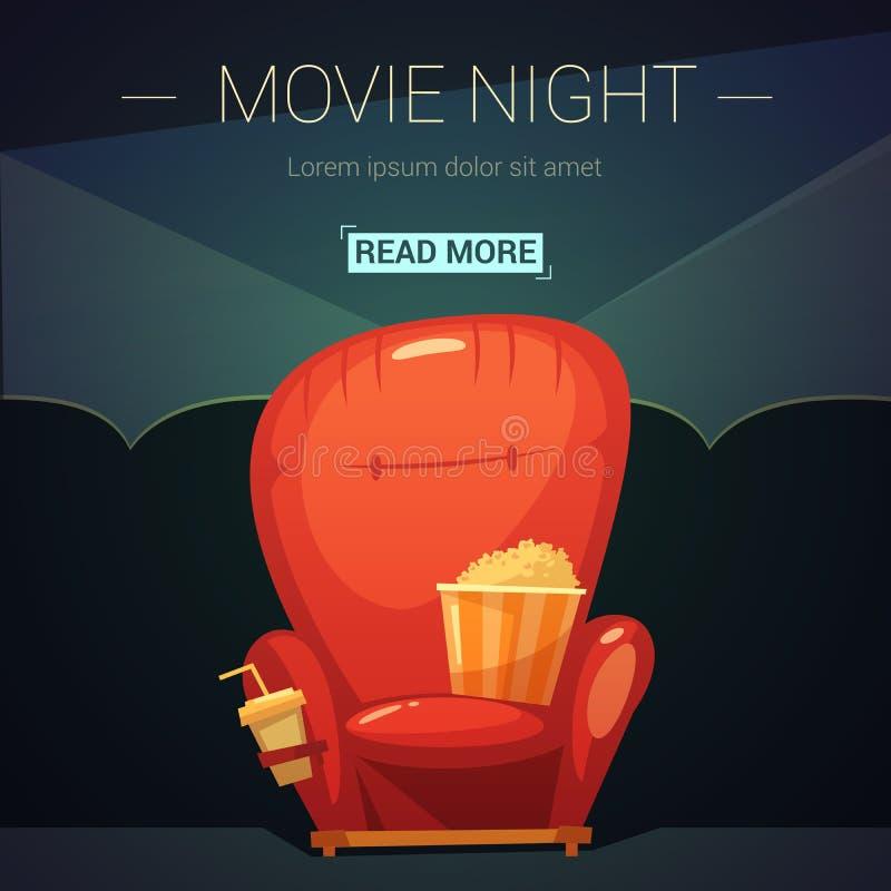 Иллюстрация шаржа ночи кино иллюстрация вектора