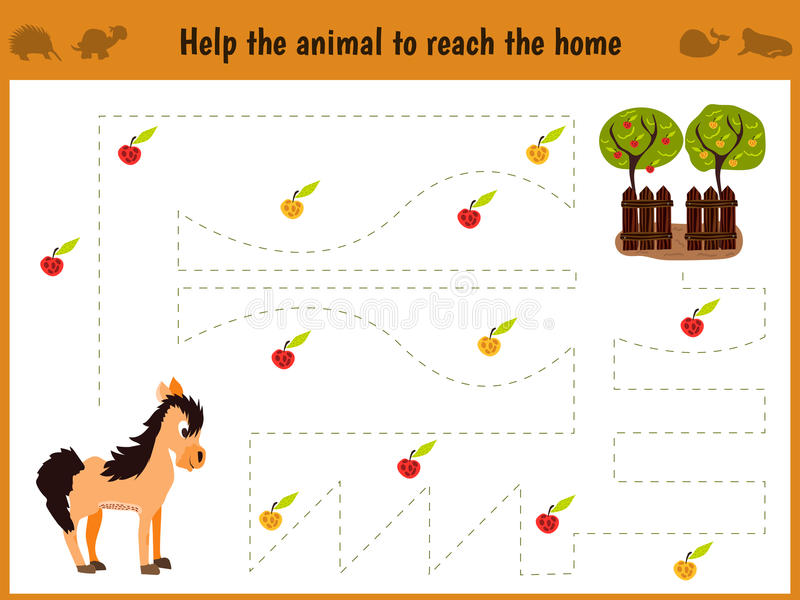 Иллюстрация шаржа образования Соответствуя игра для детей preschool следует путь лошади к ферме и собирает путь o иллюстрация штока