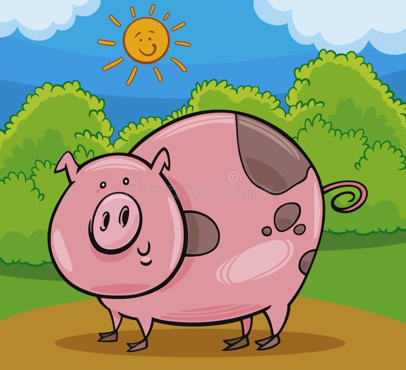 Иллюстрация шаржа поголовья свиньи животная иллюстрация вектора